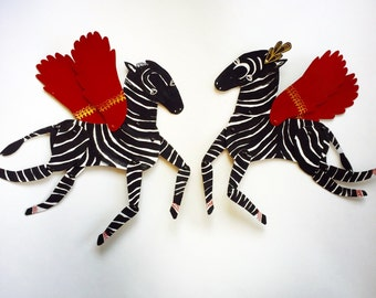 Ziggy the Zebra Black with White / Updated Horse Articulated Decoration  / Hinged Beasts Series