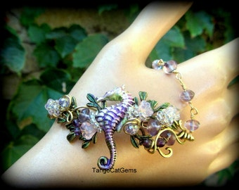 Amethyst Mist Seahorse Bracelet wire wrapped hand painted original design
