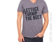 lettuce turnip the beet ® trademark brand official site - grey heather vneck shirt with logo