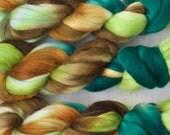 Handpainted Merino Wool and Kid Mohair Roving in Rainforest by Blarney Yarn