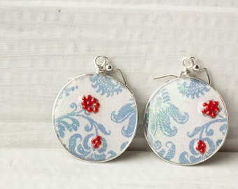 Light Blue Floral Earrings, Ice Resin, Recycled Paper Jewelry