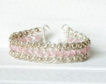 Pink Cats Eye and Silver Wire Braided Cuff