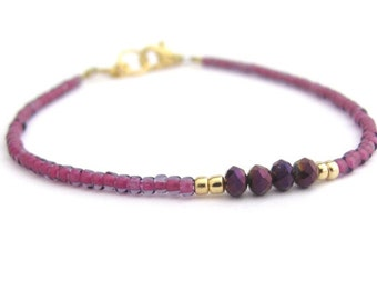 Friendship Bracelet, Purple Crystal Beads, Seed Bead Bracelet, Purple Bracelet, Fuchsia Beaded Bracelet, Minimal Bracelet, Hawaii Jewelry
