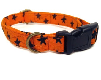 Halloween Night - Halloween Organic Cotton CAT Collar Breakaway Safety - Orange Black Stars - All Antique Brass Hardware