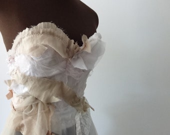 Offbeat Chiffon Alternative Wedding Dress - Artsy Boho Bridal Gown - One of a Kind Shabby Ballgown
