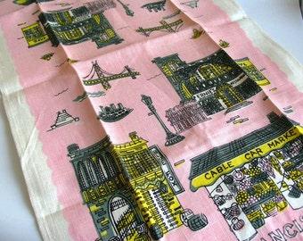Vintage San Francisco Linen Tea Towel Unused NEW Deadstock