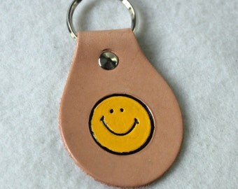 Leather Key Fob with Smiley Face