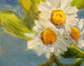 Daisy Still Life Flower Painting, Floral Blooms, Blue, White, Yellow, Original Oil Painting 6x6 Canvas, Green Leaves,Small Square Format