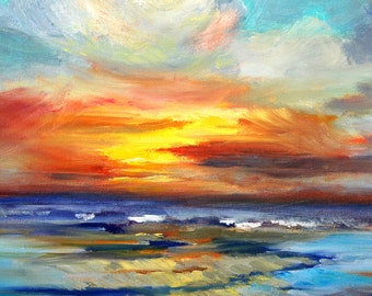 Sunset Seascape Oil Painting, Original 11x14 Canvas, Pacific Coast Ocean, Yellow, Blue Orange, Nautical Marine Art, Sea, Waves, Clouds,
