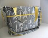 Diaper Bag - Gray Arrow - Arrow Diaper Bag - Messenger Bag - Stroller Bag