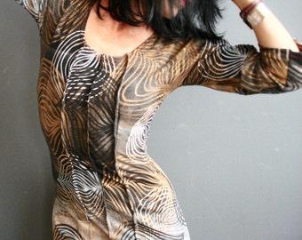 The Glorious Land - iheartfink Handmade Hand Printed Womens Earth Tones Wearable Art Print Jersey Dress