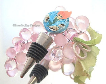 Mermaid Wine Bottle Stopper Lorelie Kay Original Pink Hair Mermaid Ocean Theme Sea Shells Lover Gift Stocking Stuffer
