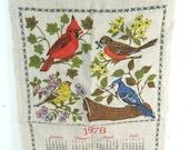 Vintage calendar tea towel, 1978 birds