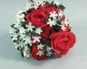 Vintage 1960s plastic flowers, flower bouquet, red roses, wedding decor, crafts