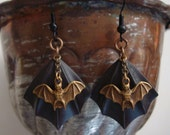 Intriguing Bat Earrings, Decadent Dark Winged Backs, Dangling Brass Ox Bats, Free Moving