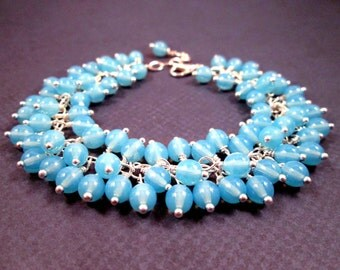 Silver Cha Cha Bracelet, Aqua Blue Wire Wrapped, Glass Beaded Bracelet, FREE Shipping U.S.