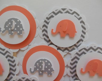 Elephant Cupcake Toppers - Coral, Gray and White - Chevron - Polka Dots - Baby Showers - Child Birthday Parties - Set of 12