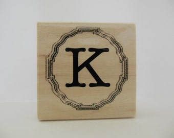 Letter K Rubber Stamp - Gingham Wildflower Collection - Wood Mounted Rubber Stamp - Letter Stamp - Alphabet Stamp