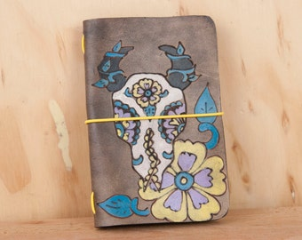 Travelers Notebook - Leather Moleskien Notebook in the Black Eyed Nellie Pattern with Day of the Dead Cow Skull