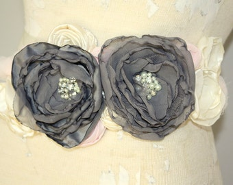 Blush and gray bridal sash, Custom bridal sash made in any color palette, dress sash, wedding sash
