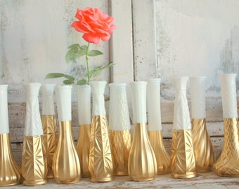 Gold dipped vase, milk glass gold painted bud vase, gold wedding decor, Set of 12 CUSTOM milk glass vase collection, wedding centerpiece