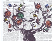 Book page print.Deer roses.housewares.french antique.home decor,vintage,retro.art.birthday gift.nursery.floral.unisex present.wall hanging