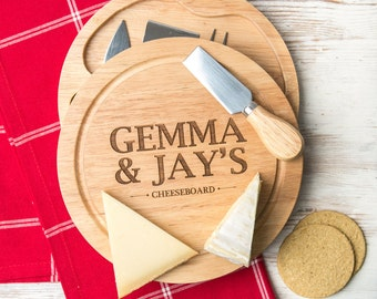 Personalized wooden cheese board gift for couples