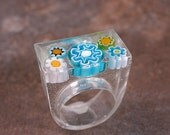Handmade Resin Jewelry Rectangular Ring with Glass Murrini in Turquoise Blues White Lime Green Size 7.5 Divine Spark Designs SRA LeTeam