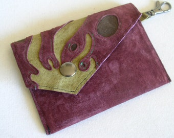 Little Envelope Wallet in Wine Suede with Keyclip