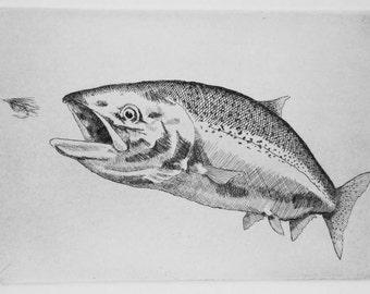 Salmon, Fly fishing, Original Etching,King Salmon