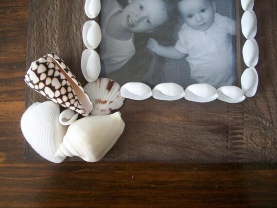 5x7 Rustic Wood Seashell Starfish Picture Frame / Coastal