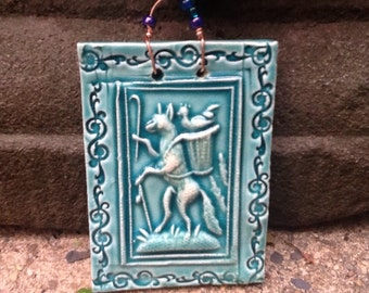 Fox and Chicken in His Basket Tile in Turquoise