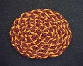 Dollhouse Miniature Oval Braided Rug (Burnt Orange, Burgundy and Gold)