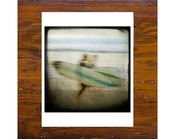 8x8 print [JCP 090] - surfers on the beach, manly beach 8x8 print, abstract, impressionist photography