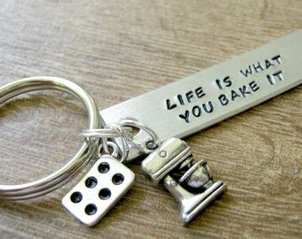 Baker's Keychain, Life is What You Bake It, muffin pan and mixer charm comes with, baker's keychain, personalize the back, baking, cooking