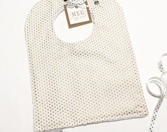 Gold Shimmer Mini Dot Baby & Toddler Girl Adjustable Snap Bib