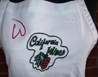 """55% OFF SALE Apron CALIFORNIA Wines W Embroidery 26"""" Spot Ready to Ship"""