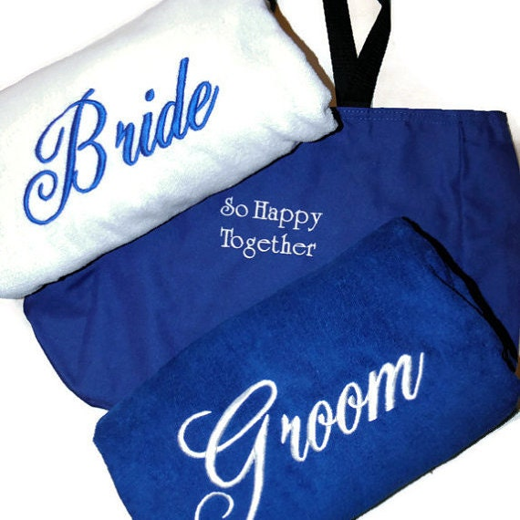 Monogrammed Beach Towel And Bag Set: BRIDE & GROOM BEACH Towel Set With Tote Bag Embroidered 100