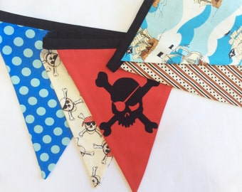 Pirate Themed Bunting.  Boy Fabric Party Banner.  As Shown, Ready To Ship.  Photo Prop, Nursery Decoration, Birthdays, Boy's Room, Fort.