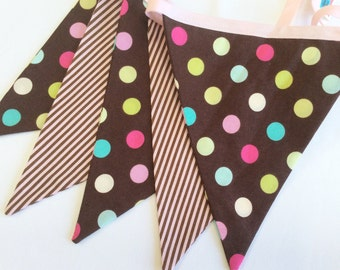 Brown and Pink Fabric Flag Bunting Banner As Shown Weddings and Parties. Photo Prop, Nursery, Girl's Room, Cake Smash, Cupcake Party, Dots
