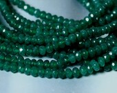 Closeout Candy jade faceted rondelle 4mm emerald green, 24 pcs (item ID CJ4mRNGD)