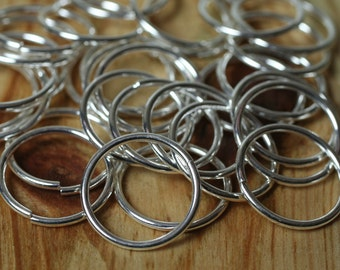 Jump ring 16mm outer diameter, 16G thick, silver plated on brass, 30 pcs (item ID YWXM00508SP)