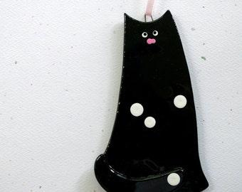 006 - Cat Ornament, Christmas Cat, Cat Decoration, Black Cat, Glass Cat, Holiday Cat, CGGE, Feline, Kitty, Handmade