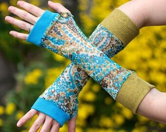 Yellow Turquoise Fingerless Sleeves Arm Warmers Fairy Pixie Elf Woodland Folk Fantasy