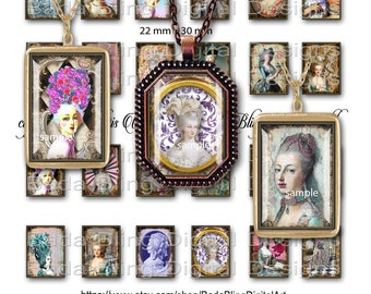Marie Antoinette Gets A Facelift,  22mm x 30mm rectangles,  INSTANT DOWNLOAD at Checkout,  Marie Antoinette collage sheets