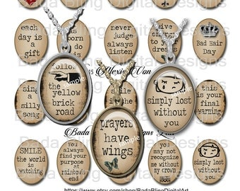 30mm x 40mm, Words of Love and Encouragement,   INSTANT Digital Download at Checkout ,collage sheets for jewelry, word pendants