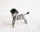Miniature Flocked Zebra Vintage West German Figurine Mid-Century Collectible