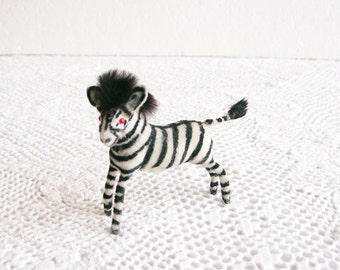 Miniature Flocked Zebra Vintage West German Figurine Mid-Century Collectible