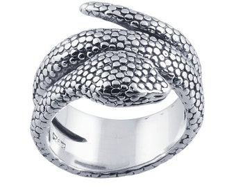 Detailed wrap around Snake Ring Sterling Silver 925 size 4 5 6 7 8 9 10