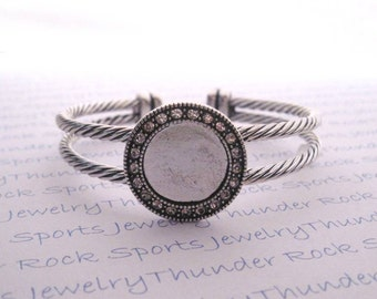Antique Silver Plated Wrist Bracelet Cuffs with 16mm Crystal Bezel with or without Glass Cabochons Adjustable Flexible Blanks